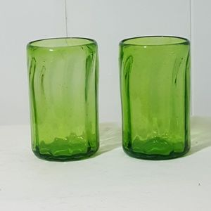 Green Hand blown Tumblers